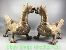 """16.4"""" Antique Chinese Silver Bronze Ware Dynasty Fly Pixiu Beast Statue Pair"""