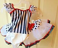 Dance/Ballerina Dress Art Stone 2 Piece Black & White w/Red Trim Size SC