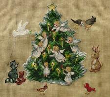 "18"" Cute Little Cherubs Xmas Tree Birds Bunny Fox Preworked Needlepoint Canvas"