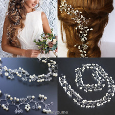 Women Pearl Wedding Hair Vine Crystal Bridal Diamante Headbands Tiara Crown 35cm