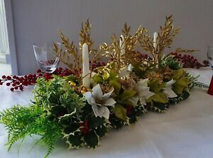 Artificial Christmas Table Centrepiece Decoration Green Gold Poinsettia IvyG