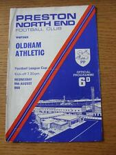 14/08/1968 Preston North End v Oldham Athletic [Football League Cup] (Creased, F