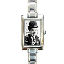 Charlie Chaplin Rectangular Italian Charm Watch