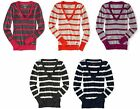 Aeropostale Womens Aero Striped V Neck Long Sleeve Relaxed Sweater Sz L XL XXL