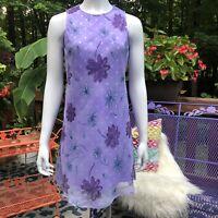 💋 Vintage 90s Flower Power Purple Dress Small My Michelle 💋