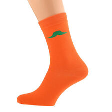 Orange Socks With Green Moustache Size 5-12 X6N007