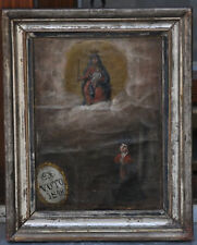 Ex voto, DAT. 1848, Madonna, votantin rezando, en papel pintado, 21/26, 5 cm