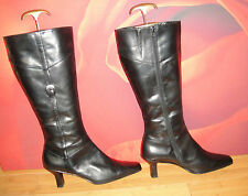*68* SUPERB PIERRE CARDIN BLACK LEATHER  BOOTS   UK 7 EU 40