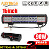 90W 15Inch Led Work Light Bar Combo Beam Off road Driving Truck SUV 4WD