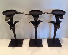 3 Pottery Barn ELAN Wrought Iron Rubbed Bronze Candle Holders