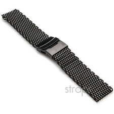 StrapsCo Matte Black Shark Mesh Stainless Steel Watch Band Strap