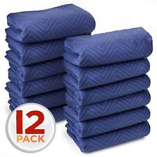 12 PACK DURABLE QUILTED BLUE 80in L x 72in W MOVING BLANKET HEAVY DUTY DOZEN DOT