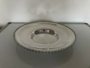 VERY NICE CIRCULAR SILVER PLATED BOWL WITH A BEADED BORDER ON A RAISED FOOT