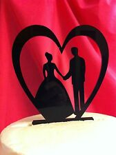Silhouette Heart Bride Groom Holding Hands Acrylic Wedding Cake Topper MADE In U