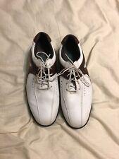 Mens Footjoy Contour Fit White/Brown Leather Golf Shoes Soft Spikes Sz 10 1/2 W