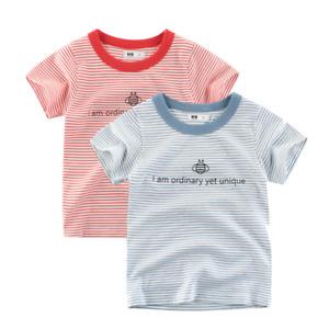 Girls Stripe T-Shirt Red Blue Boys Tee Bee Collarless Top Kids Shirt Cotton ^