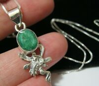 Beautiful Sterling Silver Fairy Real Emerald Gem Stone Pendant Drop NECKLACE