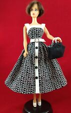 Barbie Handmade BLACK & WHITE DRESS & PURSE for vintage Barbie 010