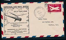 20541) Helikopterpost USA, Air mail week Hackensack 1.11.46, Zudruck GAU