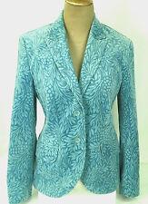 ESCADA Sport Blazer Aqua Blue Velvet Floral Long Sleeve Jacket Womens 10 Lined