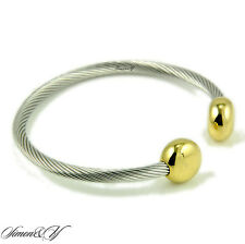 Magnetic Therapy Stainless Steel Two Tone Twisted Cable Bangle Cuff Bracelet