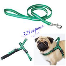 New listing Lurvig Reflective Dog harness & leash set / green & white, up to 50lbs, *New*