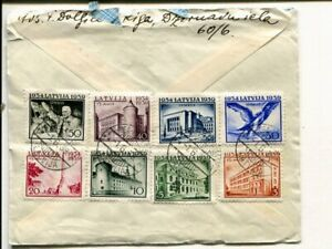 Latvia 8 values on reg air mail cover to Sweden, 1.6.1939