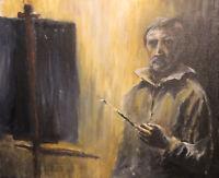 Portrait man self gentleman artist selfie rembrandt original acrylic painting