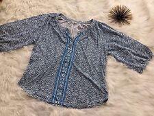 Lucky Brand Top L Large Print Peasant V-Neck Blue Cotton Blend Ladies M6