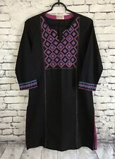 FABINDIA Vintage Dress Split Neck 3/4 Sleeve Size Small