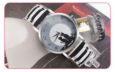 PAPHITAK round dial design Womens Cute Cat Faux PU Leather Analog Quartz Watch