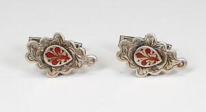 Antique Italian Italy 800 Silver Enameled Red Fleur-de-Lis Cufflinks