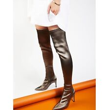 Free People Paris Over the Knee Boot Size 8 Gray Stretch Retail $228