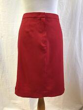 ESCADA Size 44 Red Stretch Wool Knee Length Pencil Skirt Velvet Trim GORGEOUS