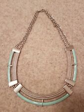 River Island Silver and Jade Large  Collar Necklace