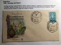 1953 Argentina First Day Cover FDC Santiago Del Estero Founded Centenary