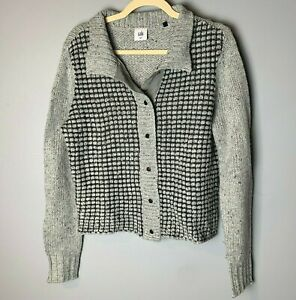 CABI Women's Cardigan Sweater Size Medium Gray Black Snap Front