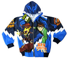 New Boys BEN 10 ALIEN FORCE vibrant blue hooded sweatshirt jacket L Age 7-8 yrs