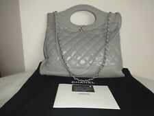 Chanel Quilted 31 Large Shopping Tote Satchel Handbag Gray Excellent Condition