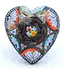 Vintage Italy Silver Toned Filigree Micro Mosaic Heart Glass Pin Brooch