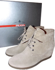 Prada Beige Suede Ankle Bootie Small Wedge Boot Lace Up Shoe Pump 37