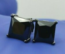 Men's Princess Black Onyx Solitaire Square Studs Push Back Post Earrings 8mm 4ct