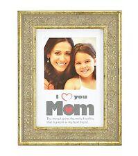 I Love Mom Frame,Vintage Light Gold 5x7 Frame For 4x4 Photo - Vertical