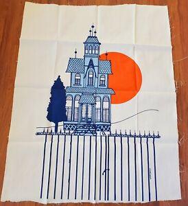 "Vtg 1970s Marushka Screen Print Textile Fabric Victorian House 38""x29"" Unframed"