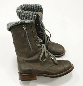 Authentic Chanel Combat Khaki Leather CC Logo Sock Boots Size EU 38 US 8