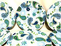 Royal Norfolk Blue & Green Paisley Set Of 6 Dinner Plates 10 1/2""