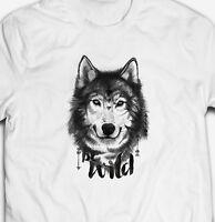 BE WILD WOLF NATURE EXPLORE ADVENTURE ANIMAL  100% cotton Mens T-shirt Tee