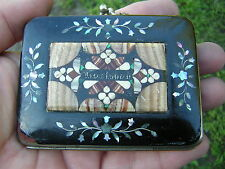 ANTIQUE VICTORIAN PIETRA DURA PAPIER MACHE + ABALONE COIN CHANGE PURSE HANDBAG