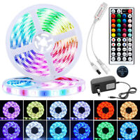 US Local 5M 16.4 ft LED Strip Light SMD 5050 RGB 44 Key Remote Controller Power