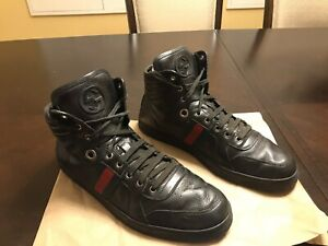 New Authentic Gucci High Top Logo Leather Sneaker Size US 11.5
